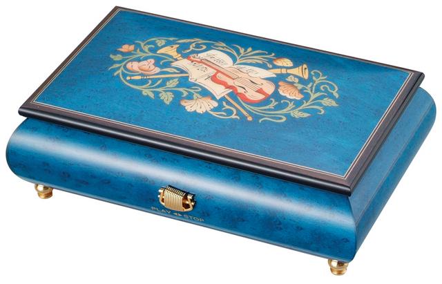 【ケースのみ】30弁用 象嵌ボックス ブルー 楽器・花柄 小物入れタイプ