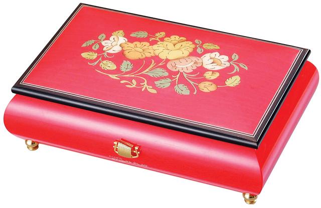 【ケースのみ】30弁用 象嵌ボックス レッド 花柄 小物入れタイプ