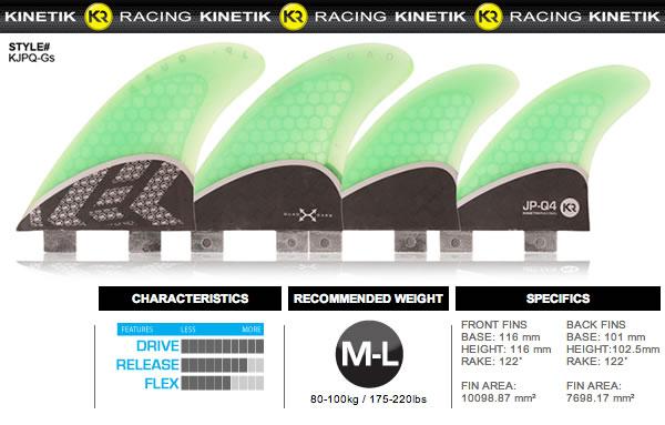 サーフボード用フィン・KINETIC RACING・JP_QUAD【在庫処分特価】