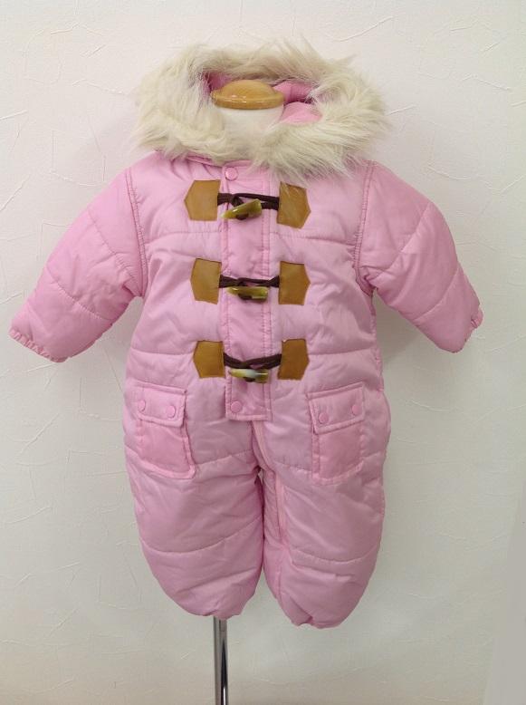 【送料無料】★ベビー防寒着 ジャンプスーツ 無地ピンクカバーオール型 70cmのみ 足カバー付き 雪遊び