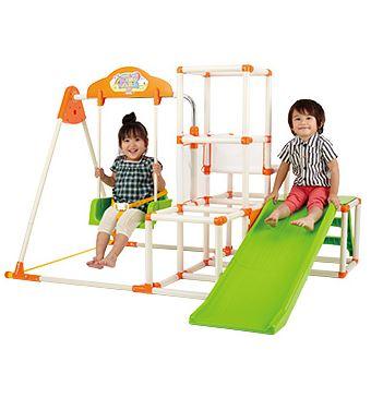 楽しくよちよちから、滑り台、ブランコまで♪赤ちゃんの運動能力の発達をサポート/夜はぐっすり/ママはニコニコ  再入荷しました!本州のみ送料無料商品おりたたみロングスロープキッズパークSPコンパクト収納/滑り台2WAY/鉄棒/ジャングルジム/ブランコ