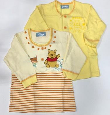 大好きなプーさんと、ずっと一緒♪お着替えに便利な2枚組 エアーニットシャツD/Sディズニー あったかキルト肌着 80cm長袖シャツ 2枚組 プーさん キイロ