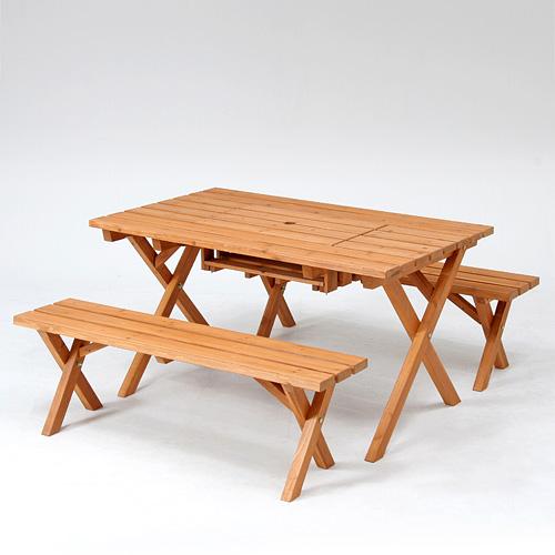 セット ガーデンテーブル ガーデン テーブル ガーデニング ガーデンベンチ ガーデンチェア テーブルセット 木製 アウトドア イス 椅子 北欧 おしゃれ レジャー 折りたたみ 杉材 BBQテーブル&ベンチセット (コンロスペース付) ガーデンテーブル ガーデン テーブル セット ガーデニング ガーデンベンチ ガーデンチェア テーブルセット 木製 アウトドア イス 椅子 北欧 折りたたみ おしゃれ レジャー インテリア アジアン ナチュラル 男前 ケース