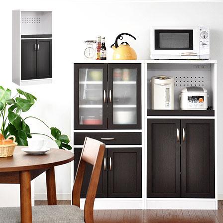 送料無料 食器棚 レンジラック レンジ台 60幅 幅60 スリム キッチン収納 レンジボード ミドルタイプレンジ台 高さ120cm スライド 引き戸 家具 北欧 シンプル モダン ホワイト ブラウン 茶色 白