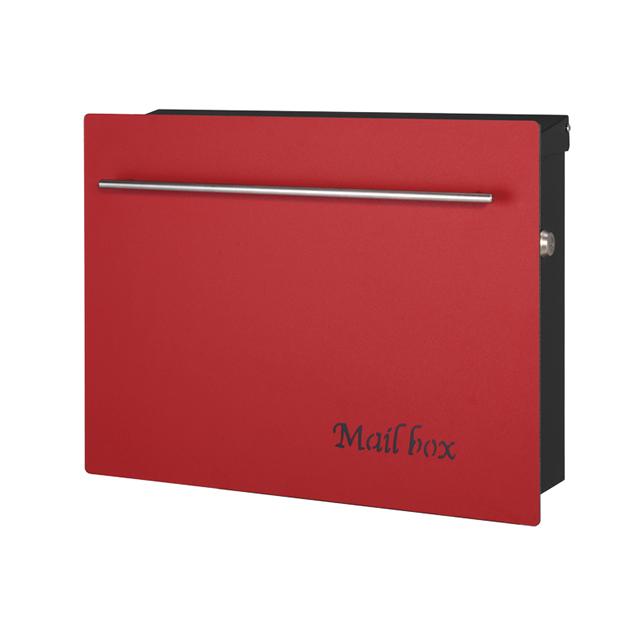 オンリーワン 郵便ポスト ノイエキューブ ワインレッド GM1-E60-102 壁掛け仕様 鍵付き