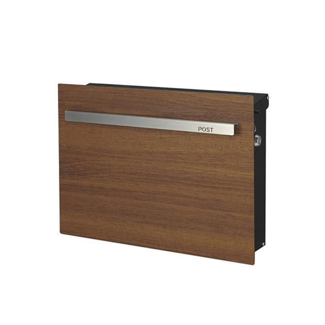 オンリーワン 郵便ポスト ノイエキューブ 木目タイプ チーク GM1-E60-502 壁掛け仕様 鍵付き
