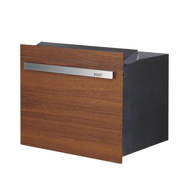 オンリーワン 郵便ポスト ノイエキューブ ウッド チーク GM1-EZL502 ブロック埋め込み仕様 ダイヤル錠付き