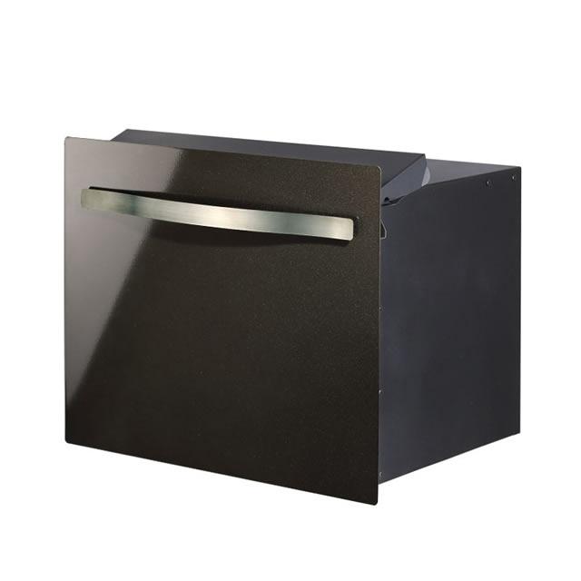 オンリーワン 郵便ポスト ノイエキューブ スパーク GM1-E6SPL3D ブロック埋め込み仕様 ガンメタリック色 ダイヤル錠付き