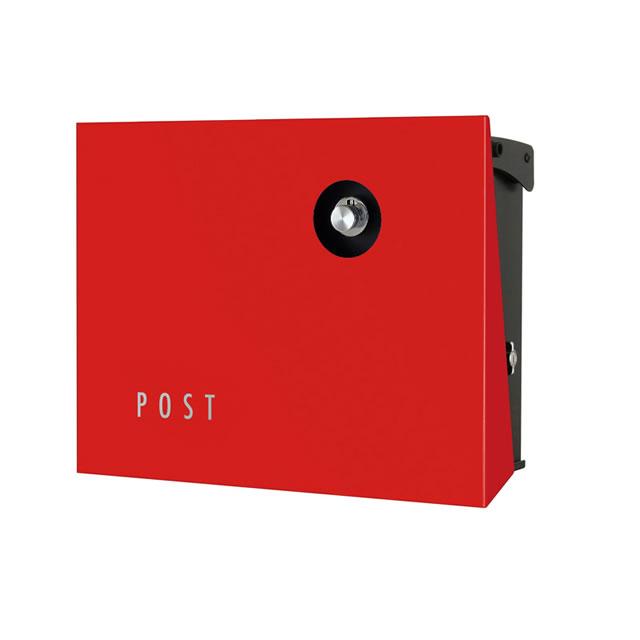 オンリーワン 郵便ポスト パーサス ネオ Type12 PLAIN プレーン NA1-PA12RE 壁掛タイプ レッド色 ダイヤル錠付き