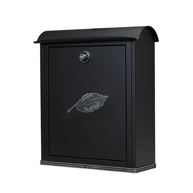オンリーワン 郵便ポスト Bosc ボスク シンプル NL1-P76 左入れ前出し ダイヤル錠付き 黒艶消し+シルバー古美仕上げ