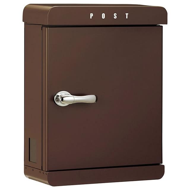 美濃クラフト 郵便ポスト PAST パスト PAST-MB メタリックNブラウン色 鍵付き