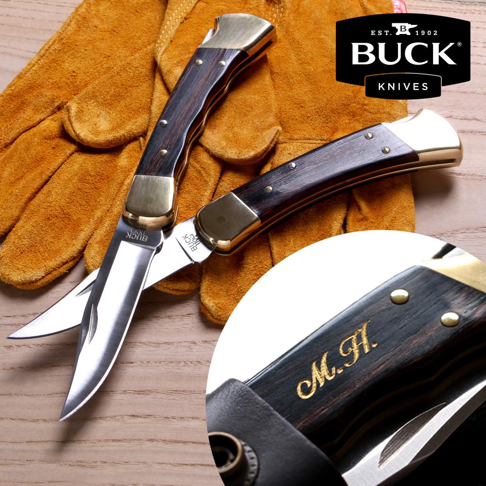 【名入れ無料】BUCK 折りたたみナイフ バックナイフ 110BR フォールディングハンター 本革ケース付き (SFG-B、S-B) 正規輸入品