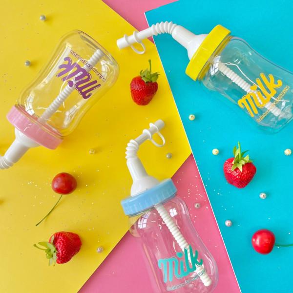 新作多数 全3色展開 ChuChu ボトル カラフル ストロー付き 写真映え パステル 哺乳瓶 韓国 ピンク 飲み物 ドリンク プレゼント 格安 プチプラ VIDA イエロー ブルー