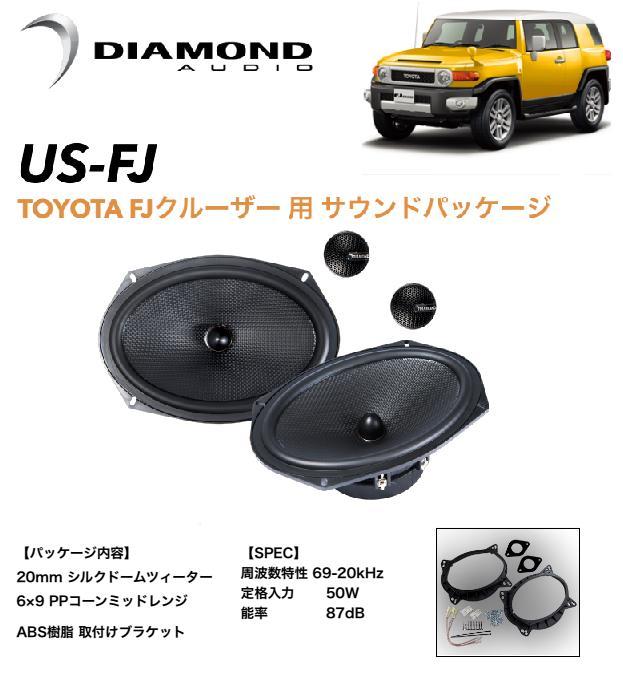 【車種専用設計】TOYOTA トヨタ FJクルーザー専用 フロントドアスピーカー ツィーター ダイヤモンドオーディオ サウンドパッケージ US-FJ GSJ15W 無加工取付可能
