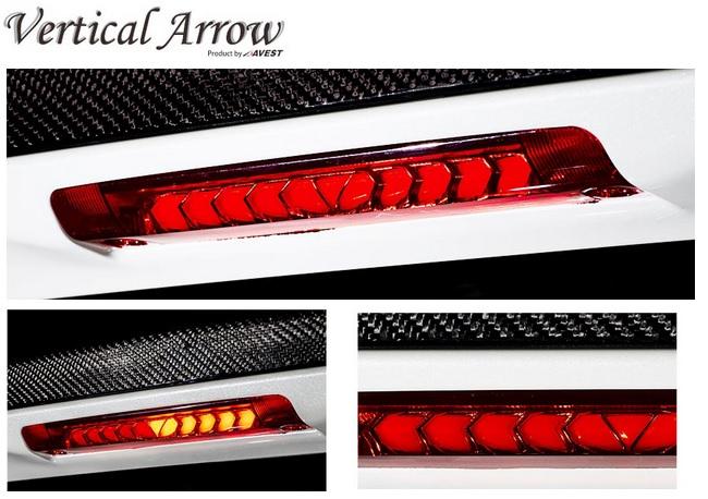 AVEST アベストVertical ArrowヴァーティカルアローLED ハイマウントストップランプ30系アルファードアルファードハイブリットレンズカラー レッド 赤流れるウィンカー搭載