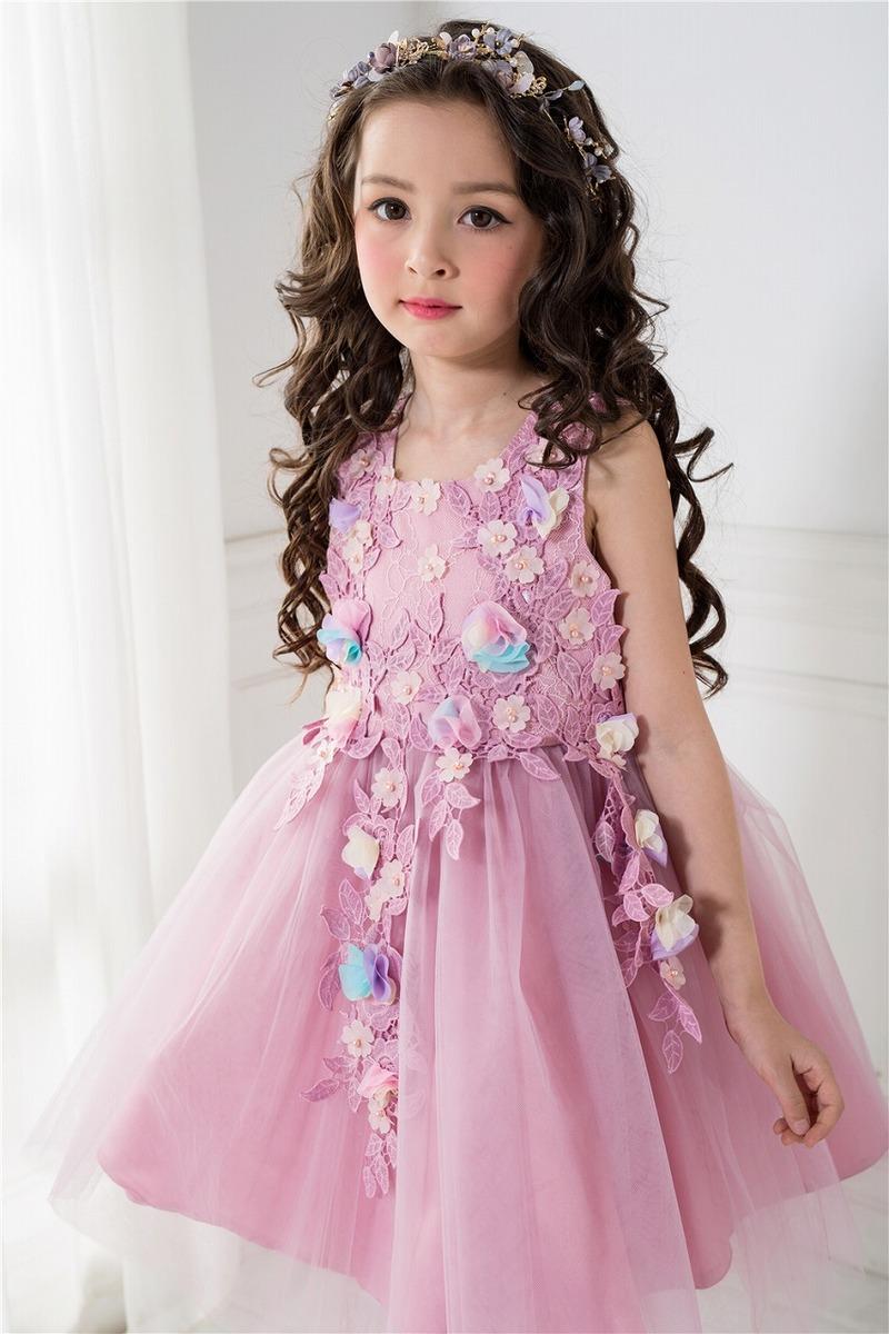 bb8ef59a4b6cc ドレス子供女の子フォーマルドレス子供服ワンピースピンクローズピンク花柄リーフ刺繍発表