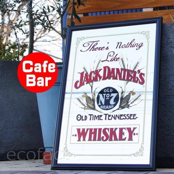 パブミラー バーミラー 鏡 壁掛け ジャックダニエル There's Nothing Like Jack Daniel's おしゃれ バー用品 お酒 看板 バー用品 木製フレーム(枠・額縁)