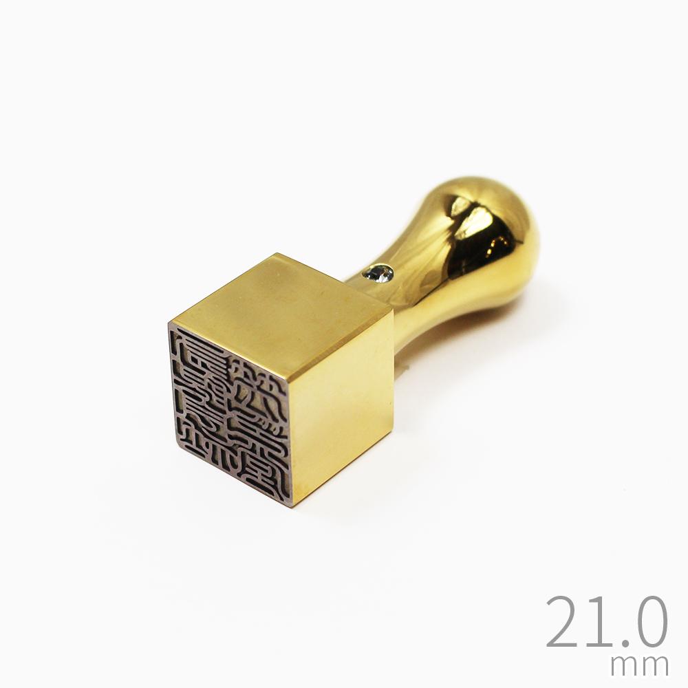 印鑑 社判 プレミアム チタン 極 ゴールド ケース無し 会社印 法人 実印 銀行印 21.0mm 角印 天角 スワロフスキー