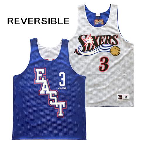 ミッチェル&ネス MITCHELL&NESS バスケットシャツ リバーシブル メッシュジャージー BLUE/WHITE NBA ALLSTAR EAST SIXERS オールスター シクサーズ VERSON アイバーソン STREET ストリート アメリカブランド レターパックプラス可