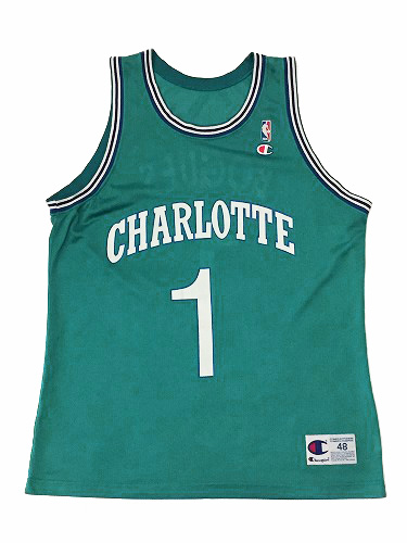 【CHAMPION】NBA HORNETS BOGUES BASKETBALL JERSEY [CYAN GREEN:XL(48)] / チャンピオン ホーネッツ バスケットボール ジャージー