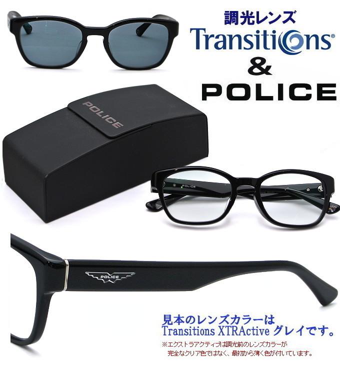 POLICE(ポリス) サングラス SPLA66J 0700 ブラック+Transitions(トランジションズ)/Transitions XTRActive(トランジションズ エクストラアクティブ) 度なし 調光レンズ お買い得セット ハードマルチ(反射防止コート)+SHC(超撥水コート)標準装備