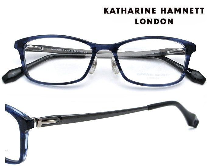 KATHARINE HAMNETT LONDON (キャサリンハムネットロンドン) メガネフレーム 54サイズ KH-9173 3 ネイビーササ/シャーリンググレー(シルバー)【送料無料】