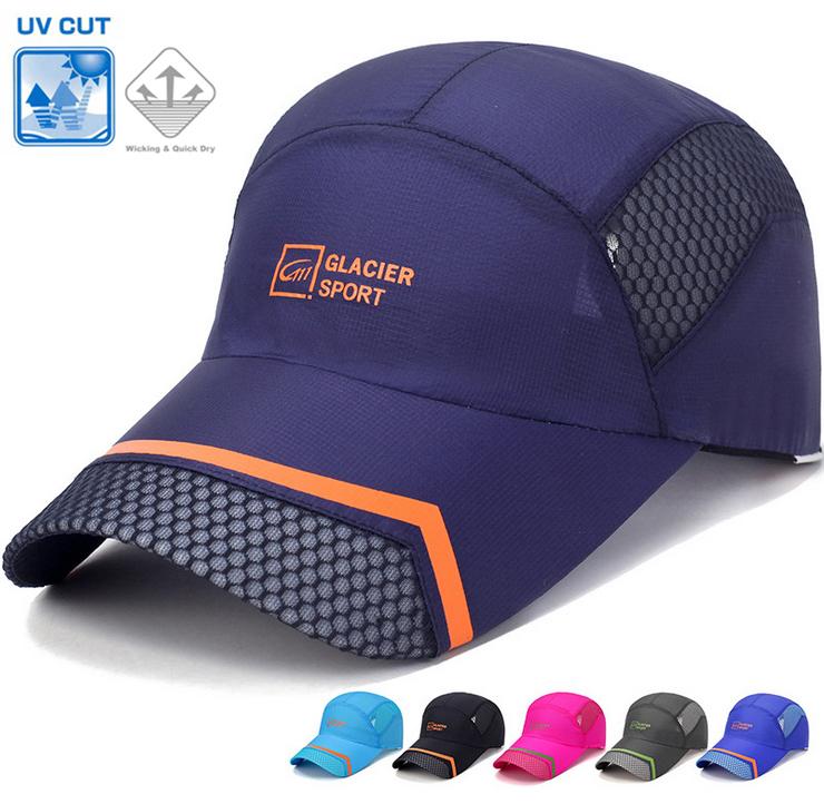 UV30+ポリエステル素材の速乾キャップ GLACIER ランニング メッシュ 日よけ ランニングキャップ 帽子 速乾 通気性 メンズ レディース