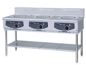 ホシザキ・星崎電磁調理器型式:HIH-555T15E-1(旧HIH-555T15E)寸法:幅1500mm 奥行600mm 高さ800mm送料:無料 (メーカーより)直送保証:メーカー保証付3口 5.0kw× 3