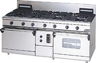 マルゼンNEWパワークックガスレンジ(自然対流オーブン、コンベクションオーブン搭載)型式:RGR-187XD(旧RGR-187XC)寸法:幅1800mm 奥行750mm 高さ800mm バック200mm送料:無料 (メーカーより)直送保証:メーカー保証付
