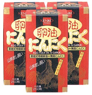 卵油にんにく【3本セット】健康フーズ:(サプリメント)黒岩式養鶏法によりつくられた有精卵油に、無臭にんにくを加えた食品です。【同梱区分J】