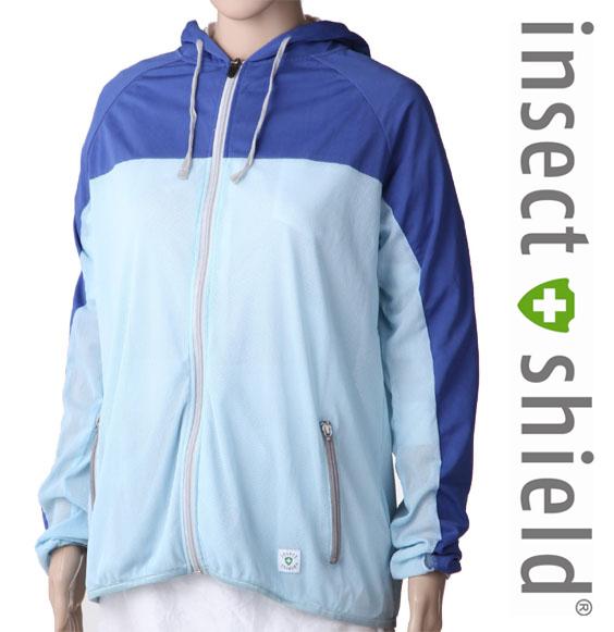 insect shield【インセクトシールド】プレミアム虫よけUVメッシュパーカー ブルー×ライトブルー【DM便かレターパックでお届け】【代引・日時指定不可】