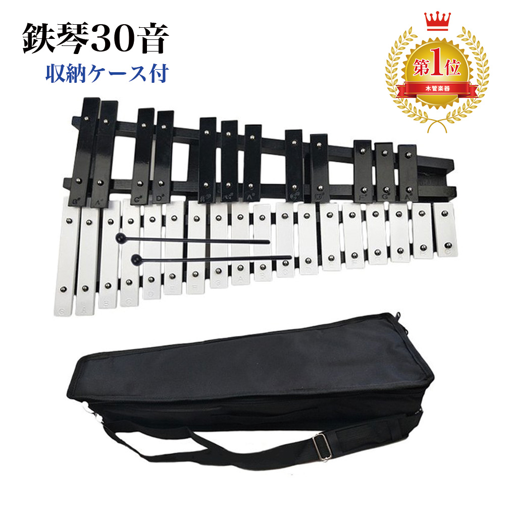 収納ケース付きで持ち運びも便利 どの場所でも演奏可能です 1位 鉄琴 30音 黒白鍵盤 評判 折り畳み 収納ケース付き グロッケンシュピール 吹奏楽 ご自宅などの練習に 卓上 商品 マレット2本