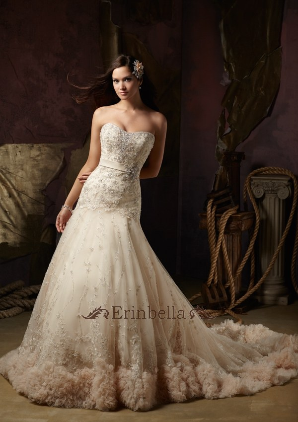 ウェディングドレス 高級なパール,ビーズ,ビジュー,パンコール,デコレーション 結婚式 披露宴 二次会 パーティー ウェディングドレス ウェディングドレス ロングトレーン サイズオーダー (1248)