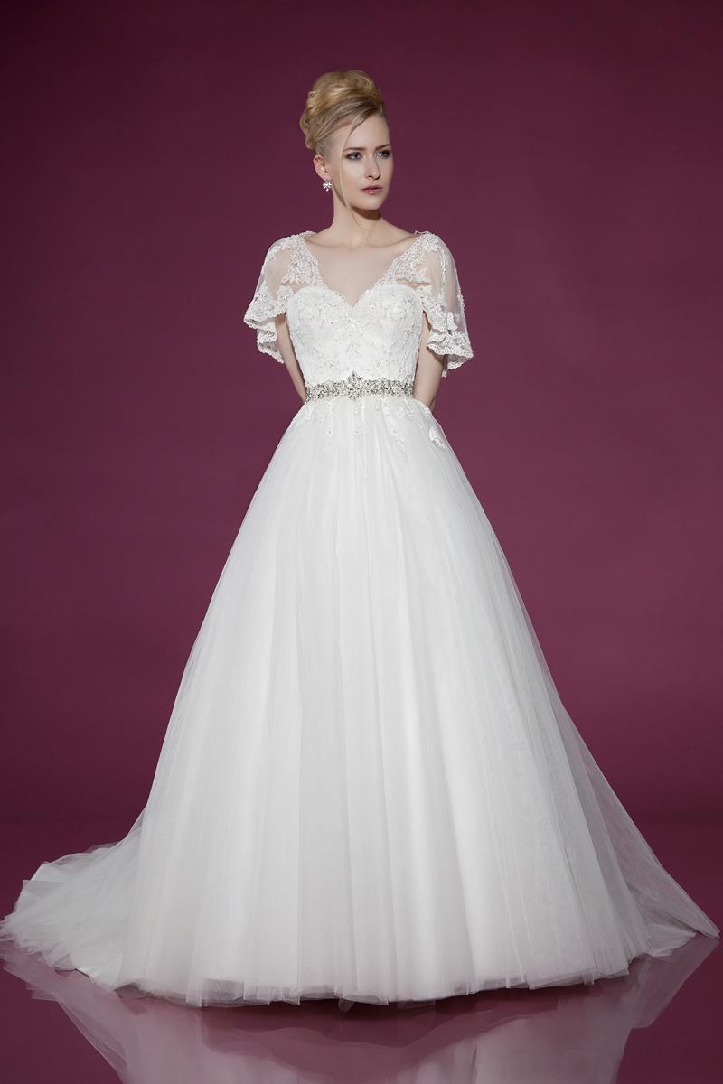ウェディングドレス Aライン レース袖 刺繍 結婚式 二次会 披露宴 ブライダル TW0196