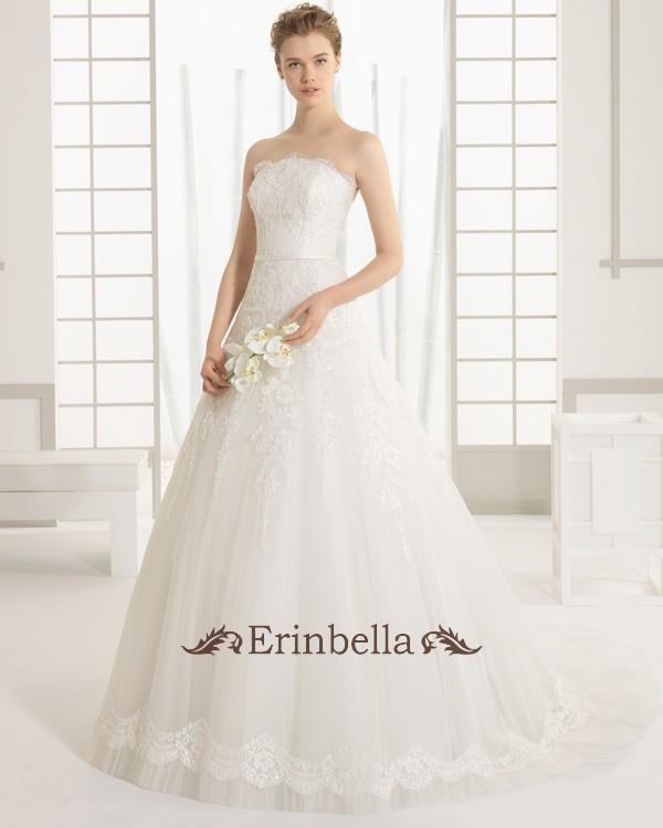 ウェディングドレス ベアトップ ふわふわスカート Aライン 花嫁 結婚式 二次会 披露宴 91106