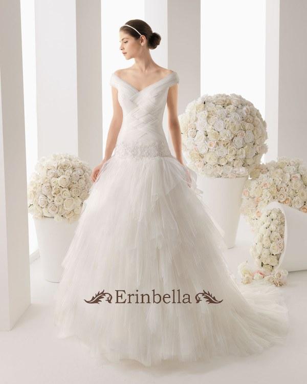 ウェディングドレス Aライン オフショルダー 結婚式 二次会 披露宴 ブライダル TW0251