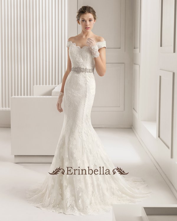 Cute Wedding Dress Off Shoulder Overseas Mermaid Lace Parties Reception Tw0889