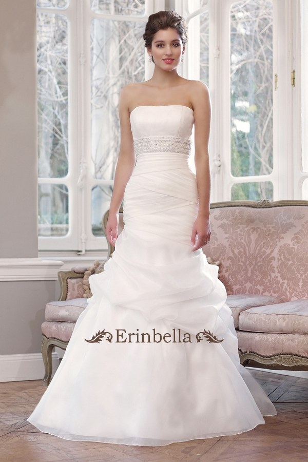 ウエディングドレス マーメイドライン 海外挙式 ベアトップ ビスチェ TW0385