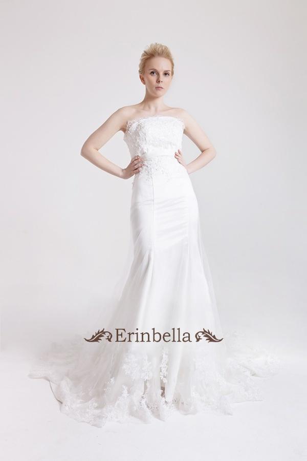 送料無料 ウエディングドレス ベアトップ ビスチェ カラー マーメイドライン ベルト 結婚式 披露宴 二次会 パーティー ウェディングドレス ウェディングドレス マーメイド (TW0442)