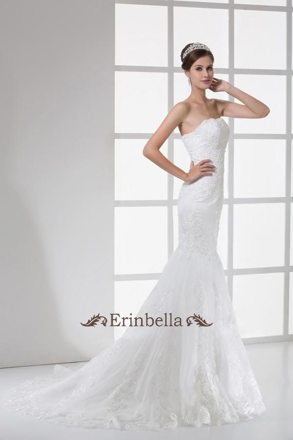 ウェディングドレス ウェディングドレス ビスチェ ベアトップ マーメイド 編み上げタイプ  (TW0482)