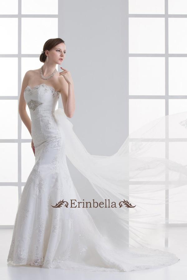 ウェディングドレス マーメイドライン マーメイド リボン 編み上げタイプ (TW0501)