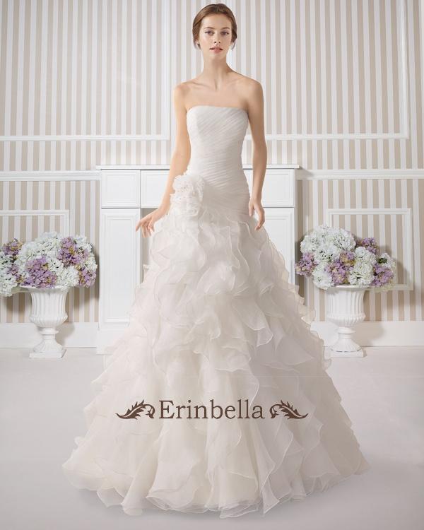 Erinbella 送料無料 サイズオーダー 新作 ウエディングドレス カラー マーメイドライン ベアトップ ビスチェ 結婚式 披露宴 二次会 ウェディングドレス_マーメイドライン_マーメイド (TW0594)