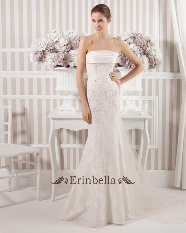 Erinbella 送料無料 サイズオーダー ウエディングドレス カラー マーメイドライン ベアトップ ビスチェ 結婚式 披露宴 二次会 パーティー ウェディングドレス マーメイドライン マーメイド ロングトレーン (TW0611)