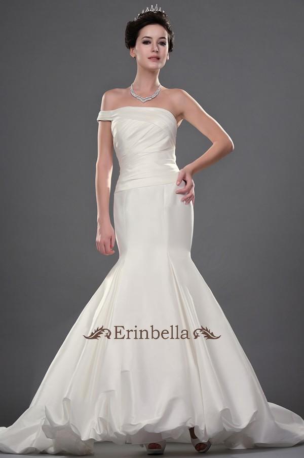 Erinbella 送料無料 サイズオーダー 新作 ウエディングドレス カラー マーメイドライン オシャレ 結婚式 披露宴 二次会 パーティー ウェディングドレス マーメイド ワンショルダー (TW0710)