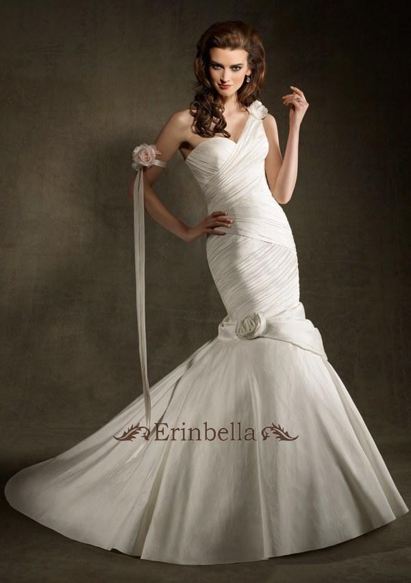 ウェディングドレス マーメイドライン マーメイド ワンショルダー 編み上げ (1233)