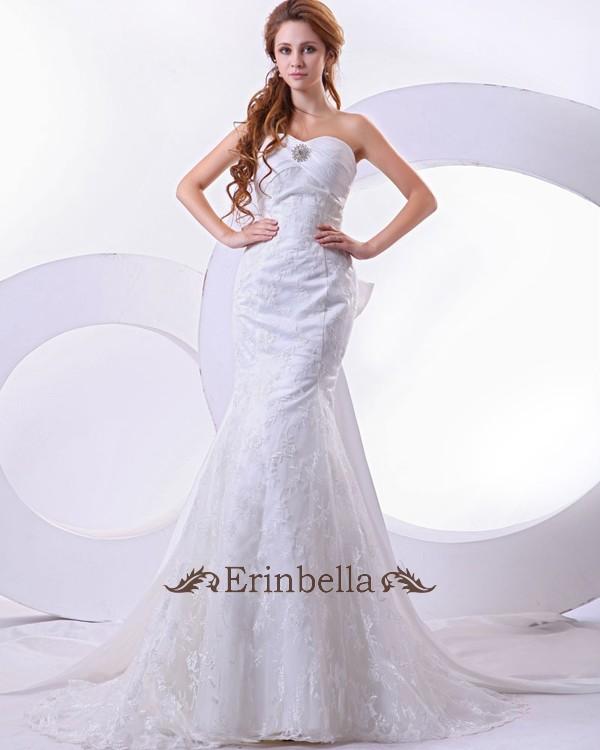 ウェディングドレス ウェディングドレス ロングトレーン マーメイドライン マーメイド 大きいリボン(TW0774)