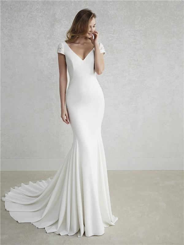 ウェディングドレス シンプルドレス 袖付き 袖あり マーメイドライン 結婚式 二次会 披露宴 演奏会 サイズオーダー