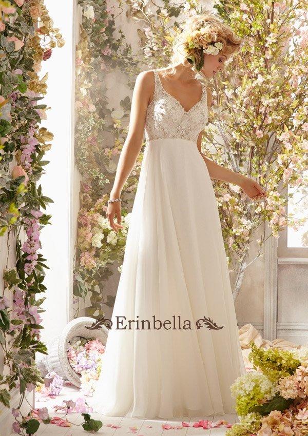 ウェディングドレス エンパイア シンプル スレンダーライン 海外挙式 結婚式 二次会 披露宴 TW0090