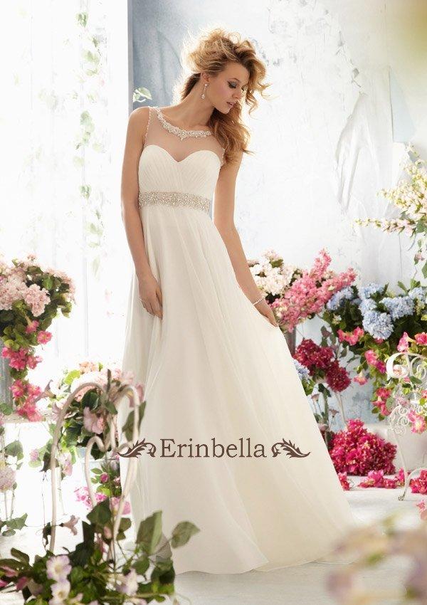 ウェディングドレス エンパイア シンプル スレンダーライン 海外挙式 結婚式 二次会 披露宴 TW0098