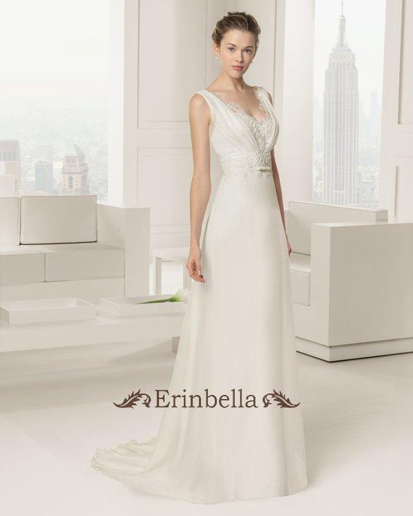 ウェディングドレス スレンダーライン Vカット 花嫁 結婚式 二次会 披露宴 ブライダル TW0894